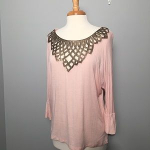 "Light Pink 3/4"" Batwing Sleeve With Gold Sequence"